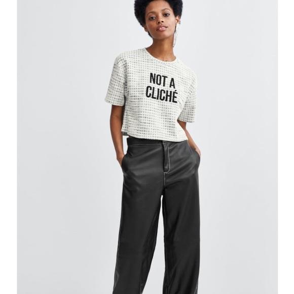 d873a01f Zara Tops | Textured Crop Tshirt | Poshmark
